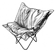 Butterfly chair black and white art, illustration by Garry K. Williams